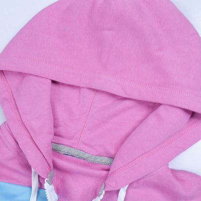 NK Slim Fit Stretchable Zipper Hoodie For Kids-Light Pink with Dark Navy & Sky Panel-BE11030