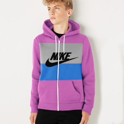 NK Slim Fit Stretchable Zipper Hoodie For Kids-Magenta with Cyan & Dark Grey Panel-BE11036