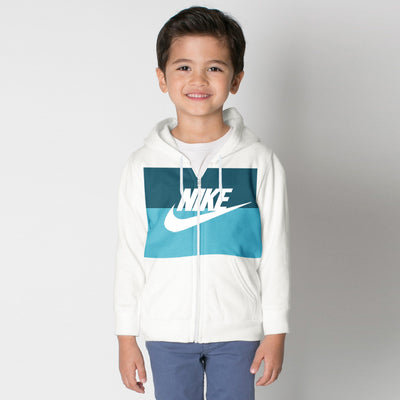 NK Slim Fit Stretchable Zipper Hoodie For Kids-Off White with Dark Zinc & Sky Panel-BE11028
