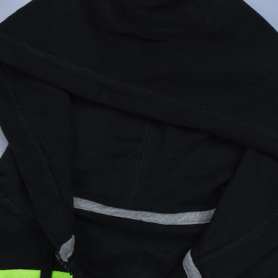 NK Slim Fit Stretchable Zipper Hoodie For Men-Black with Lime Green & Green Panel-BE11095
