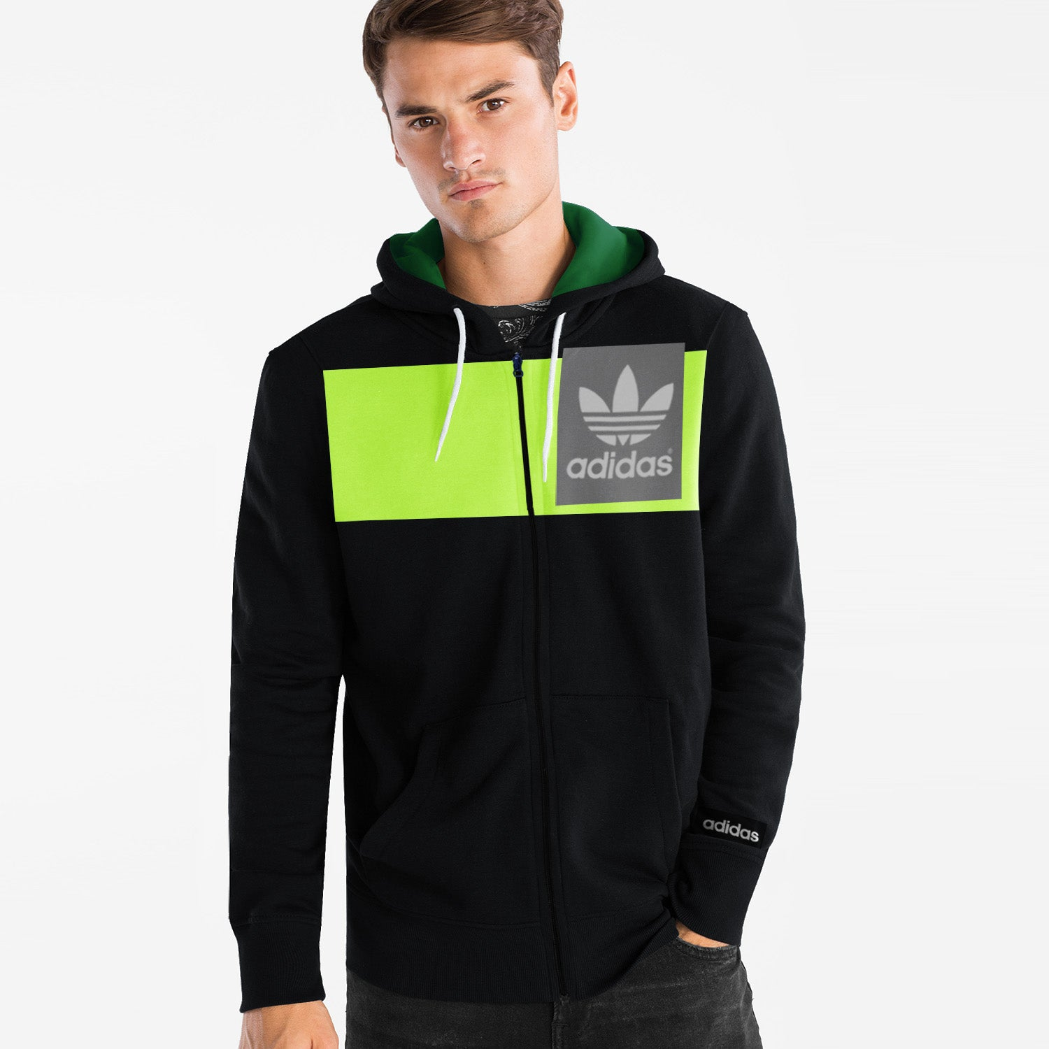 Adidas Slim Fit Stretchable Zipper Hoodie For Men-Black with Lime Green Panel-BE11104