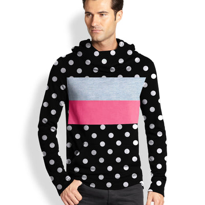 NK Slim Fit Stretchable Zipper Hoodie For Men-Black with White Dotted & Panels-BE11571