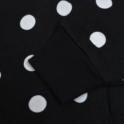 NK Slim Fit Stretchable Zipper Hoodie For Men-Black with White Dotted & Panels-BE11575