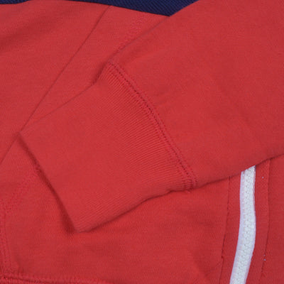 NK Slim Fit Stretchable Zipper Hoodie For Men-Coral Orange with Sky & Dark Navy Panel-BE11023