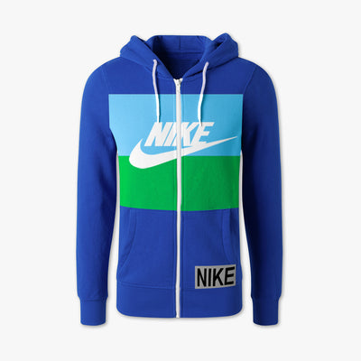 NK Slim Fit Stretchable Zipper Hoodie For Men-Dark Blue with Sky & Green Panel-BE11101