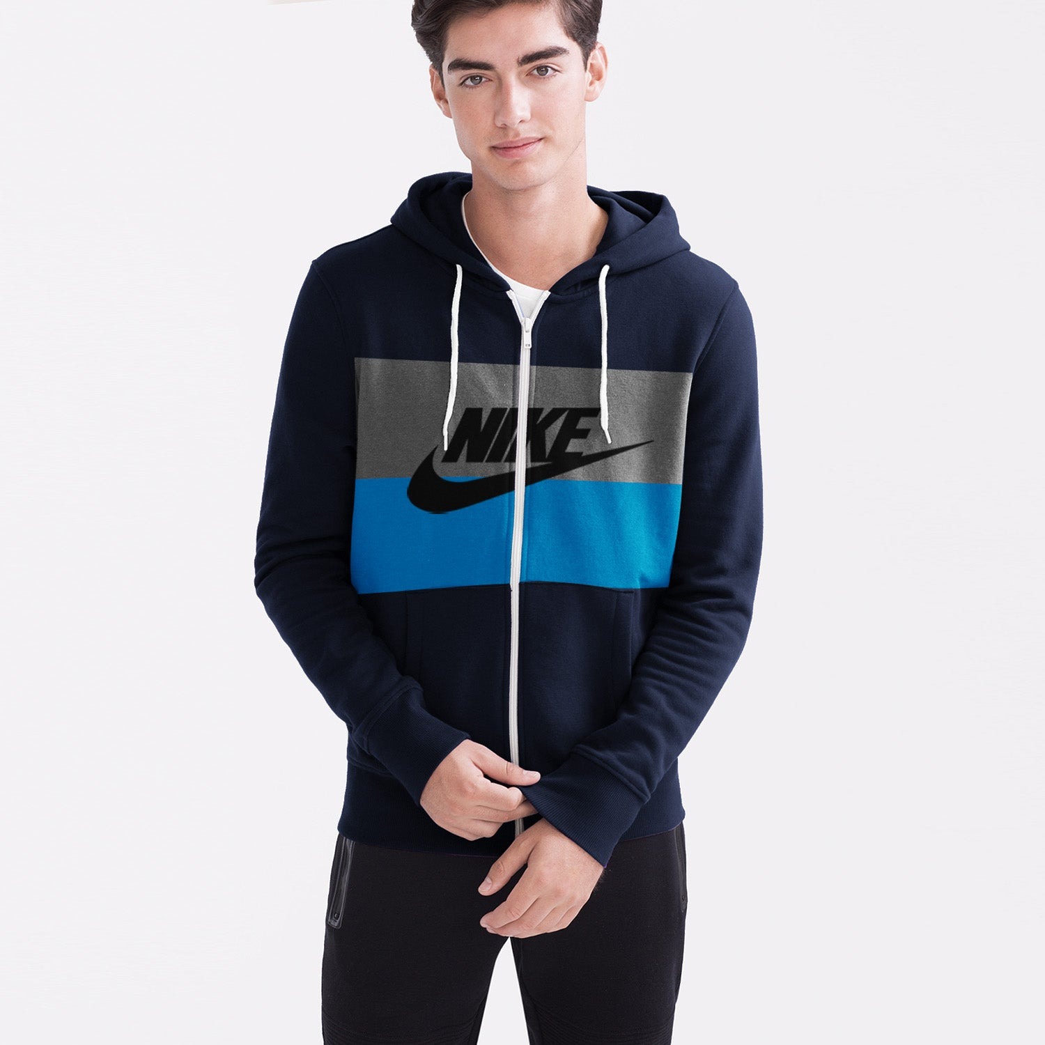 NK Slim Fit Stretchable Zipper Hoodie For Men-Dark Navy with Cyan & Dark Grey Panel-BE11033