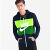 NK Slim Fit Stretchable Zipper Hoodie For Men-Dark Navy with Lime Green & Green Panel-BE11109