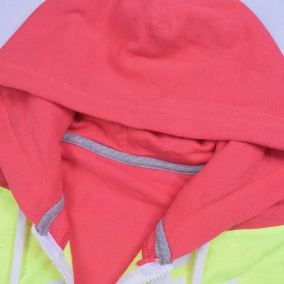 NK Slim Fit Stretchable Zipper Hoodie For Men-Dark Pink with Lime Green & Green Panel-BE11094
