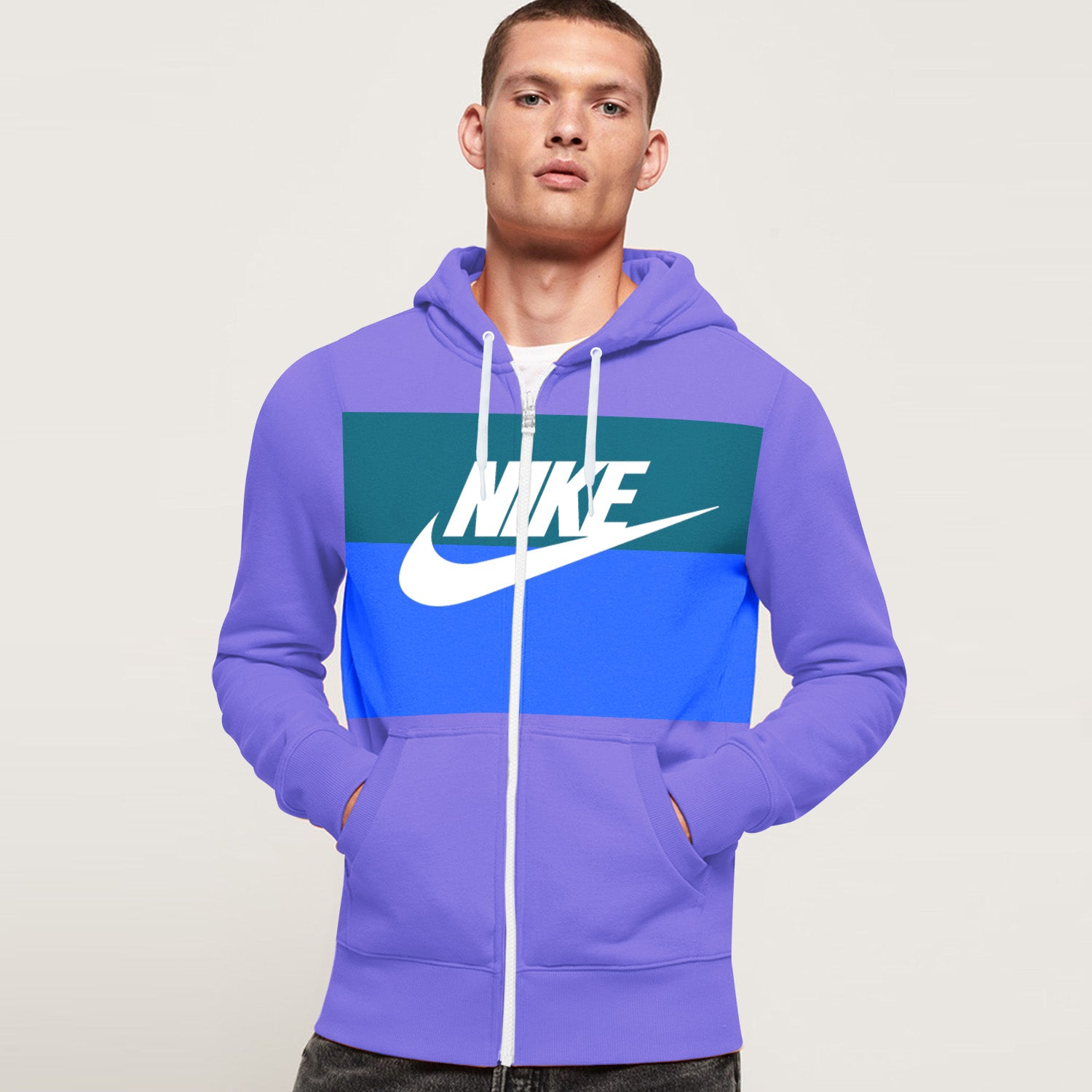 NK Slim Fit Stretchable Zipper Hoodie For Men-Light Purple with Dark Zinc & Cyan Panel-BE11018
