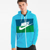 NK Slim Fit Stretchable Zipper Hoodie For Men-Light Sky with Dark Zinc & Green Panel-BE11123