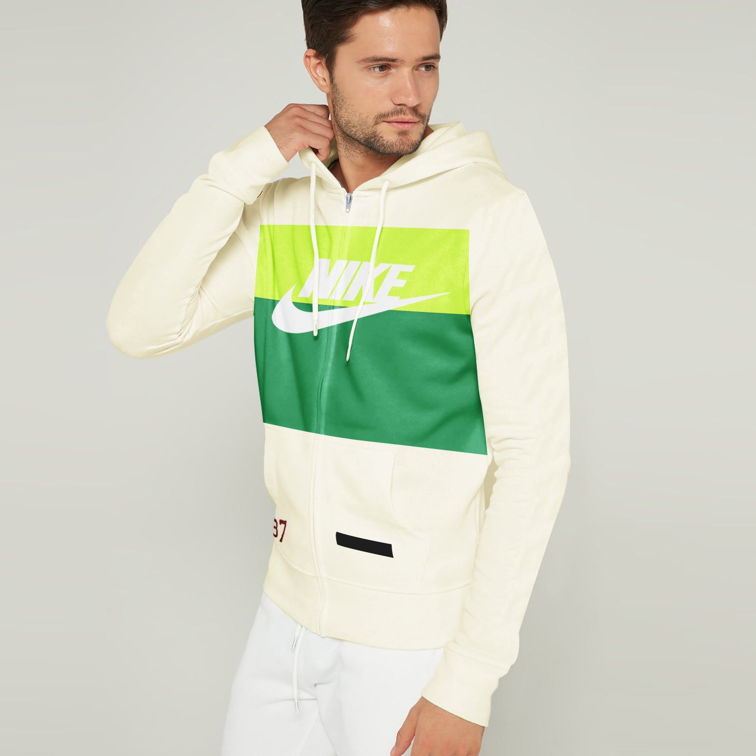NK Slim Fit Stretchable Zipper Hoodie For Men-Light Yellow with Lime Green & Green Panel-BE11126