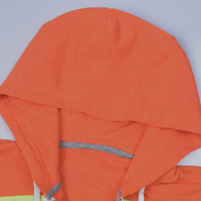 NK Slim Fit Stretchable Zipper Hoodie For Men- Orange with Lime Green & Green Panels-AN003
