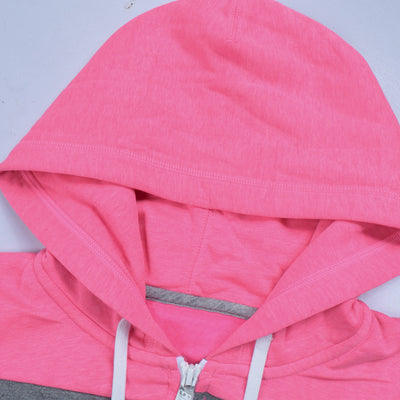 NK Slim Fit Stretchable Zipper Hoodie For Men-Pink Melange with Cyan & Dark Grey Panel-BE11046