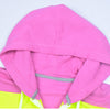 NK Slim Fit Stretchable Zipper Hoodie For Men-Pink with Lime Green & Green Panels-AN002