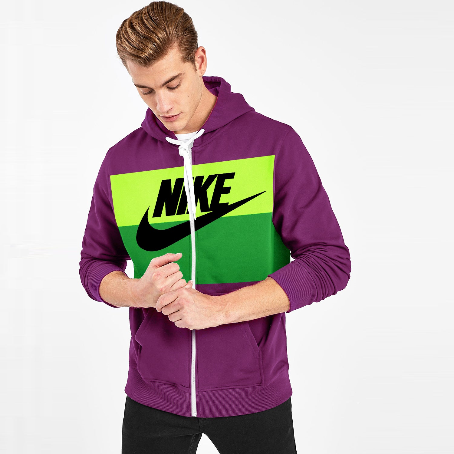 NK Slim Fit Stretchable Zipper Hoodie For Men-Scarlet with Lime Green & Green Panel-BE11125