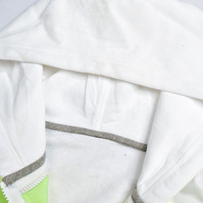 NK Slim Fit Stretchable Zipper Hoodie For Men-White with Lime Green & Green Panel-BE11103