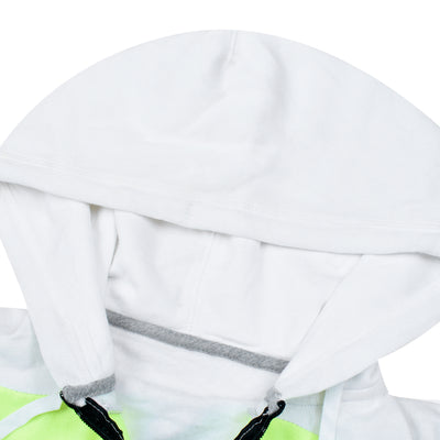 NK Slim Fit Stretchable Zipper Hoodie For Men-White with Lime Green & Green Panel-BE11574