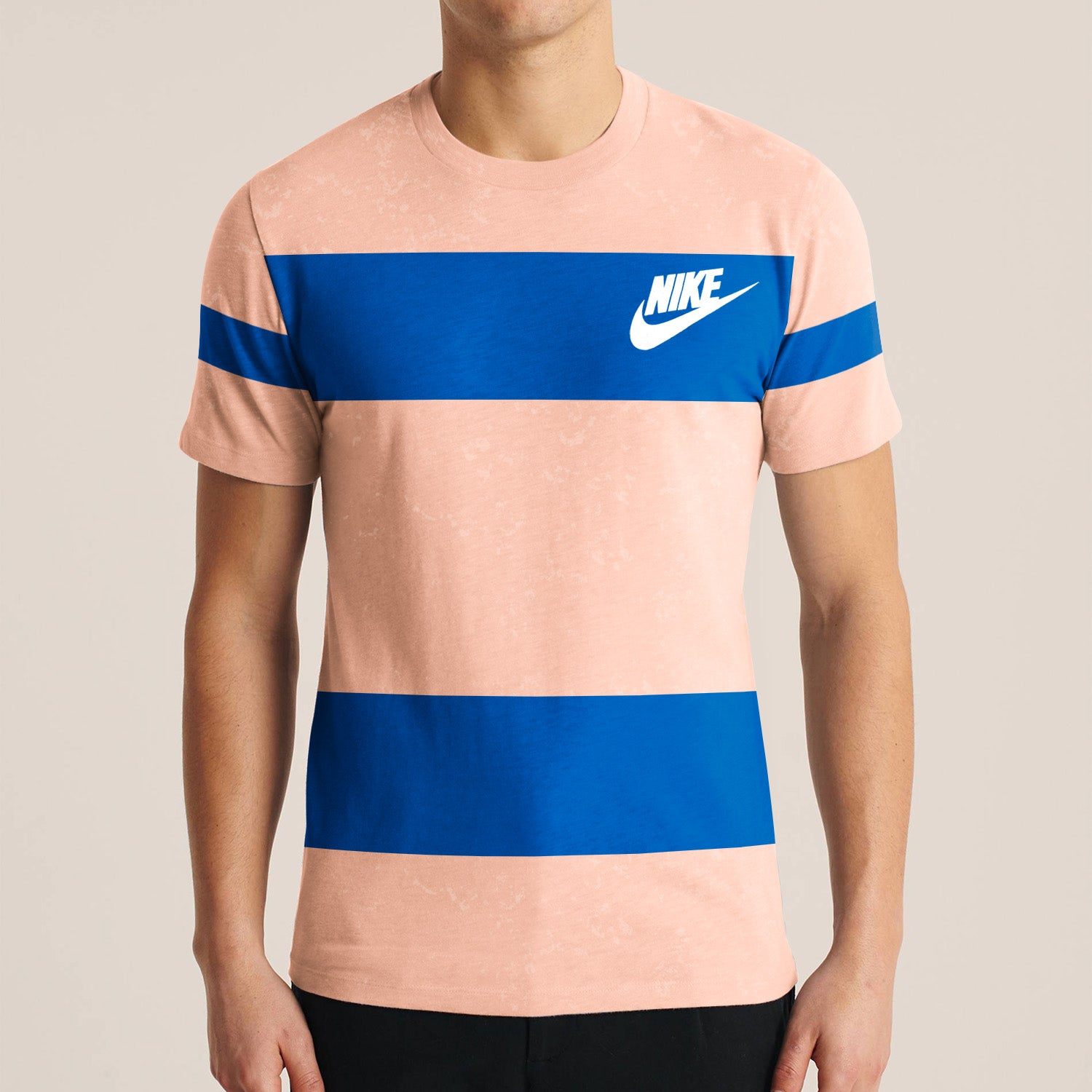 NK Summer Crew Neck Faded Tee Shirt For Men-Light Peach with Blue Print-BE12009