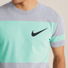 NK Summer Crew Neck Faded Tee Shirt For Men-Light Purple with Light Cyan Green Panels-BE12374