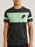 NK Summer Crew Neck Tee Shirt For Men-Black Faded with Light Cyan Green Panel-BE12033