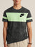 NK Summer Crew Neck Tee Shirt For Men-Black Faded with Light Green Panel-BE12028