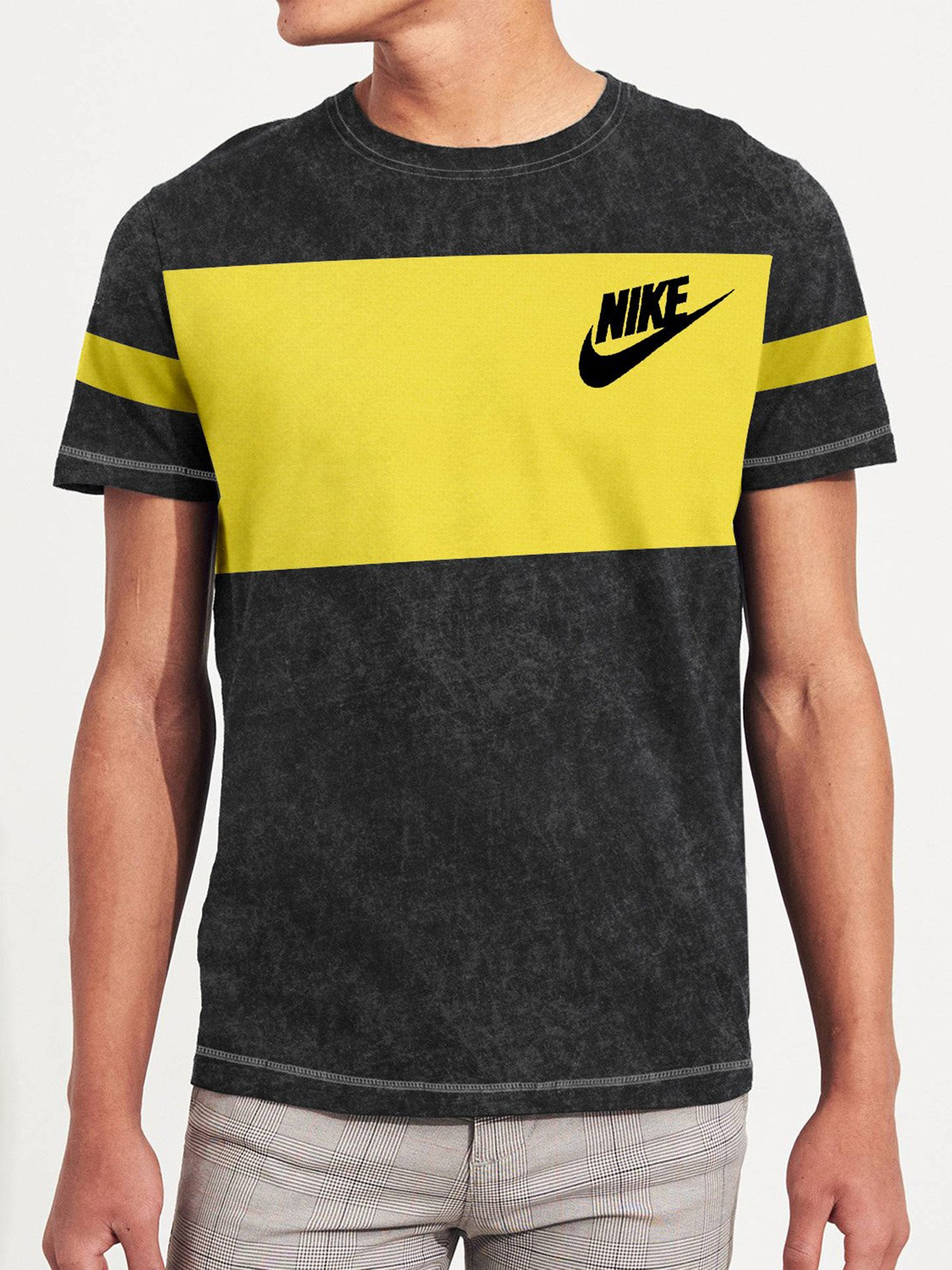 NK Summer Crew Neck Tee Shirt For Men-Black Faded with Yellow Panel-BE12088