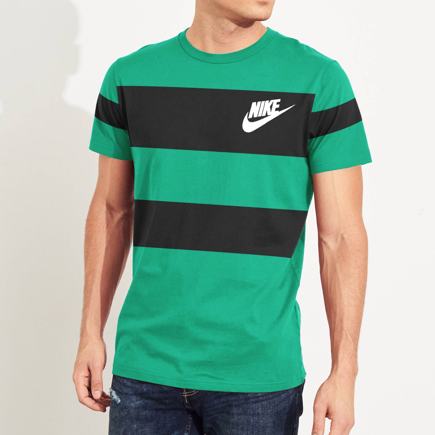 NK Summer Crew Neck Tee Shirt For Men-Cyan Green with Black Panel-BE12019
