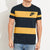 NK Summer Crew Neck Tee Shirt For Men-Dark Navy with Yellow Print-BE12005