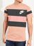 NK Summer Crew Neck Tee Shirt For Men-Light Orange with Rosy Black Panel-BE12031
