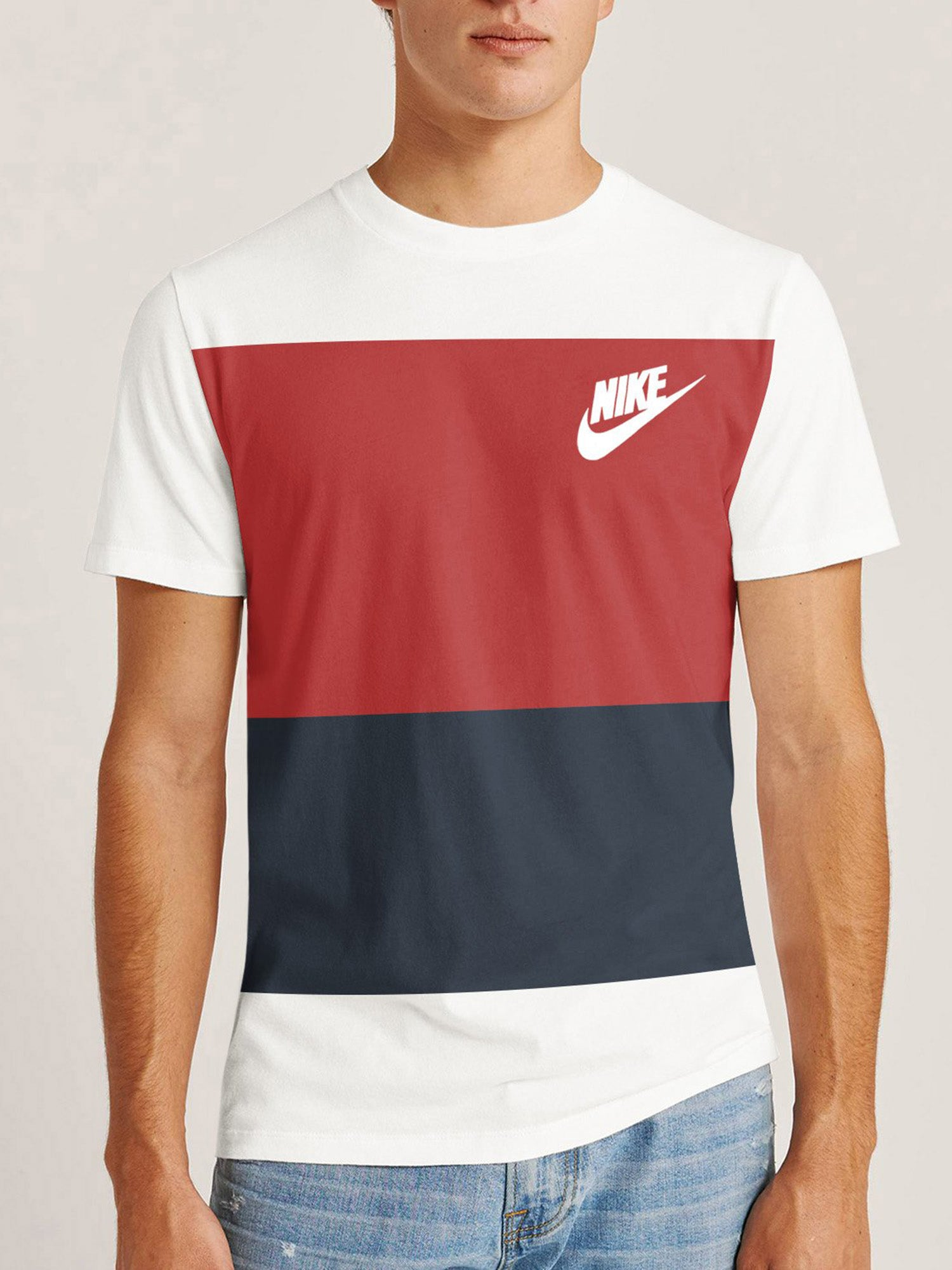 NK Summer Crew Neck Tee Shirt For Men-White with Navy & Red Panel-BE12029