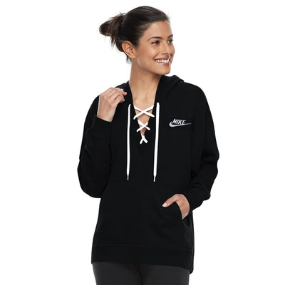 NK Terry Fleece Black & White Embroidery Lace Up Hoodie For Ladies-Black-BE10258