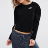 NK Terry Fleece Black & White Embroidery Sweatshirt For Women-Black-BE10235