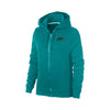 NK Terry Fleece Dark Cyan Green & Navy Embroidery Zipper Hoodie For Ladies-Dark Cyan Green-BE10316