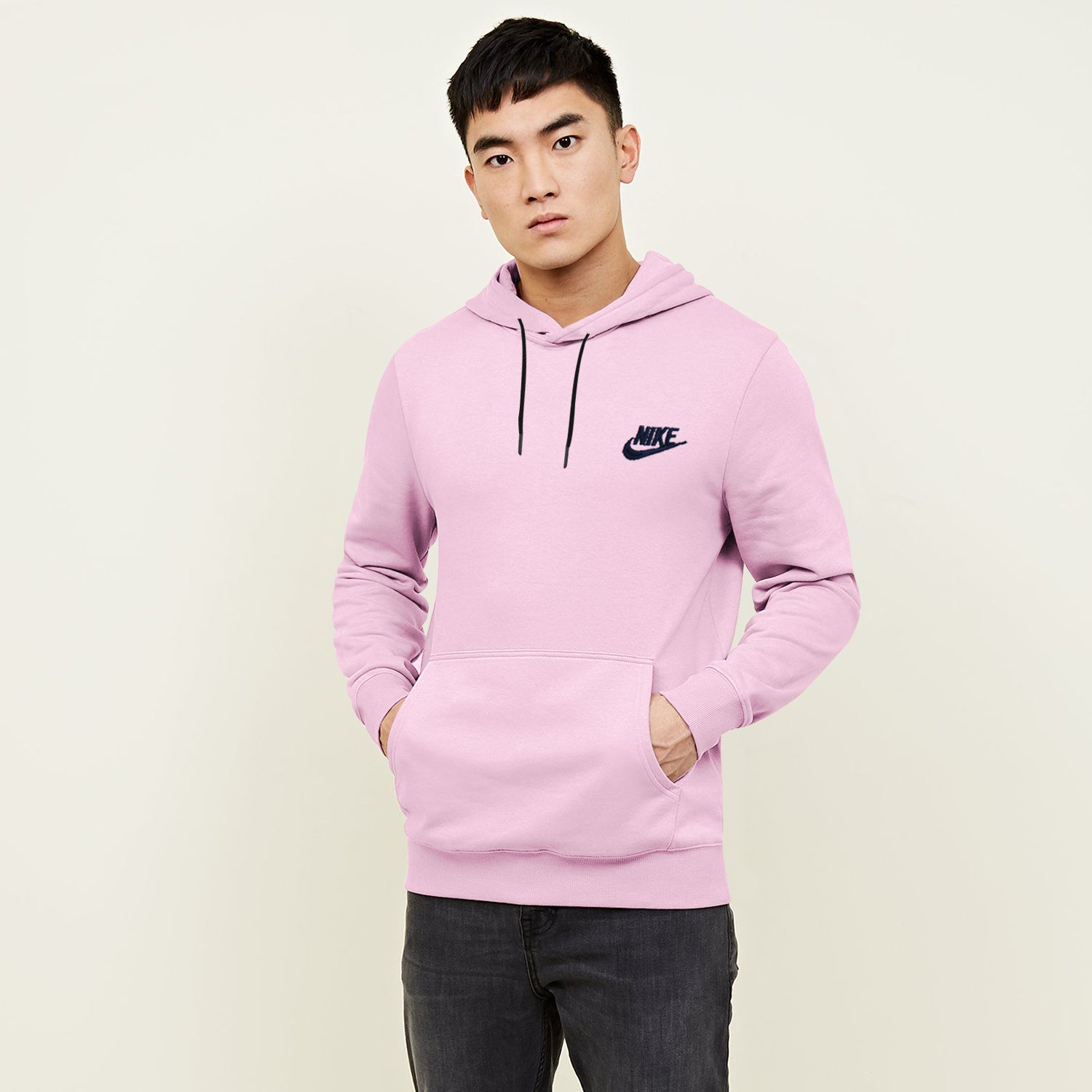 NK Terry Fleece Navy Embroidery Pullover Hoodie For Men-Light Pink-BE10238