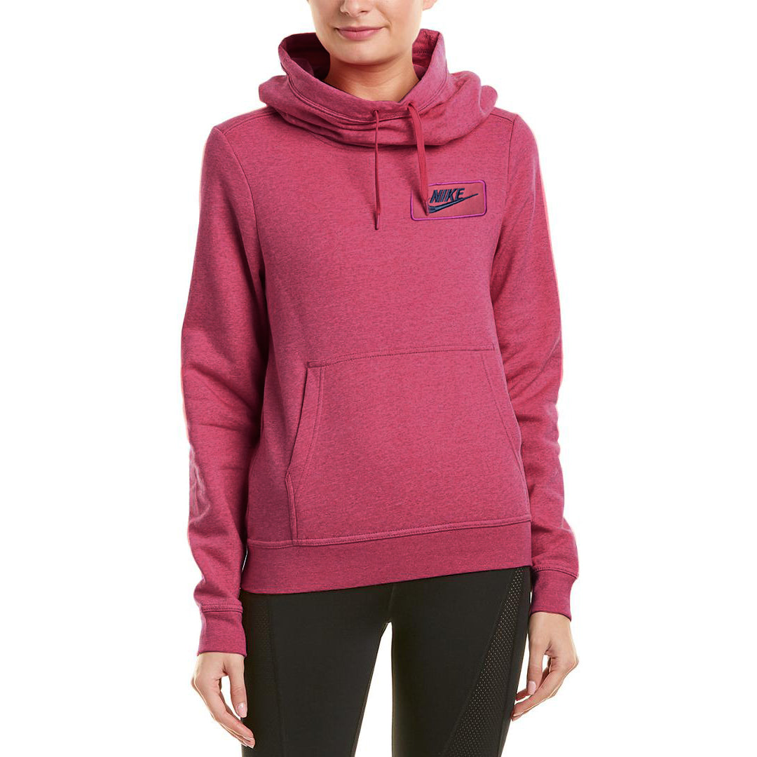 NK Fleece Pink & Navy Embroidery Funnel Neck Hoodie For Ladies-Pink-BE0769