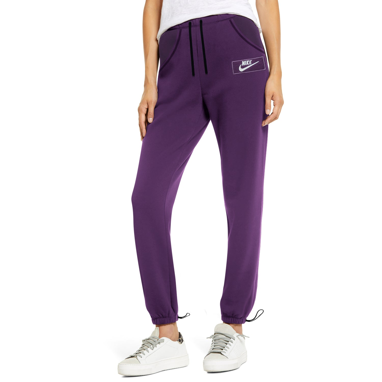 NK Terry Fleece Slim Fit Pant Style Jogging Trouser For Ladies-Dark Purple with White Embroidery-BE13959
