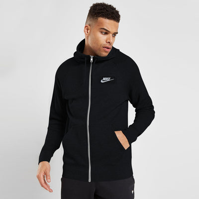 NK Thermal Black with White Embroidery Zipper Hoodie For Men-Black-BE10244
