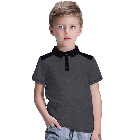 Kids Oliver Duke Cut Label Stylish Polo Shirt-Black Dotted-DK19