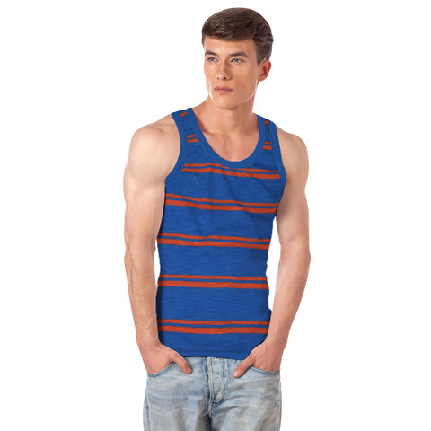 Fassion Boy Sleeve Less T Shirt-Blue & Orange Striped-BE826