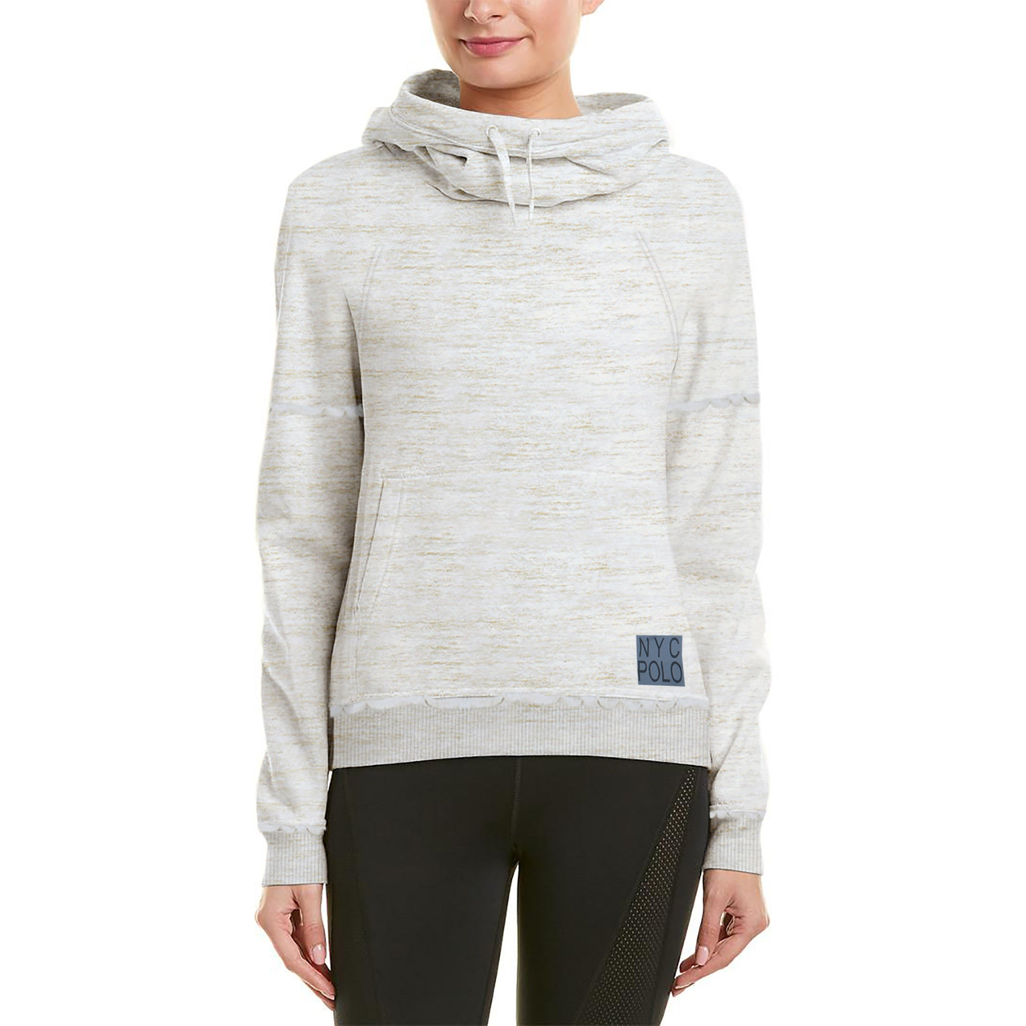 NYC Fleece Fleece Rally Funnel Neck For Ladies-Off White Melange-BE7025
