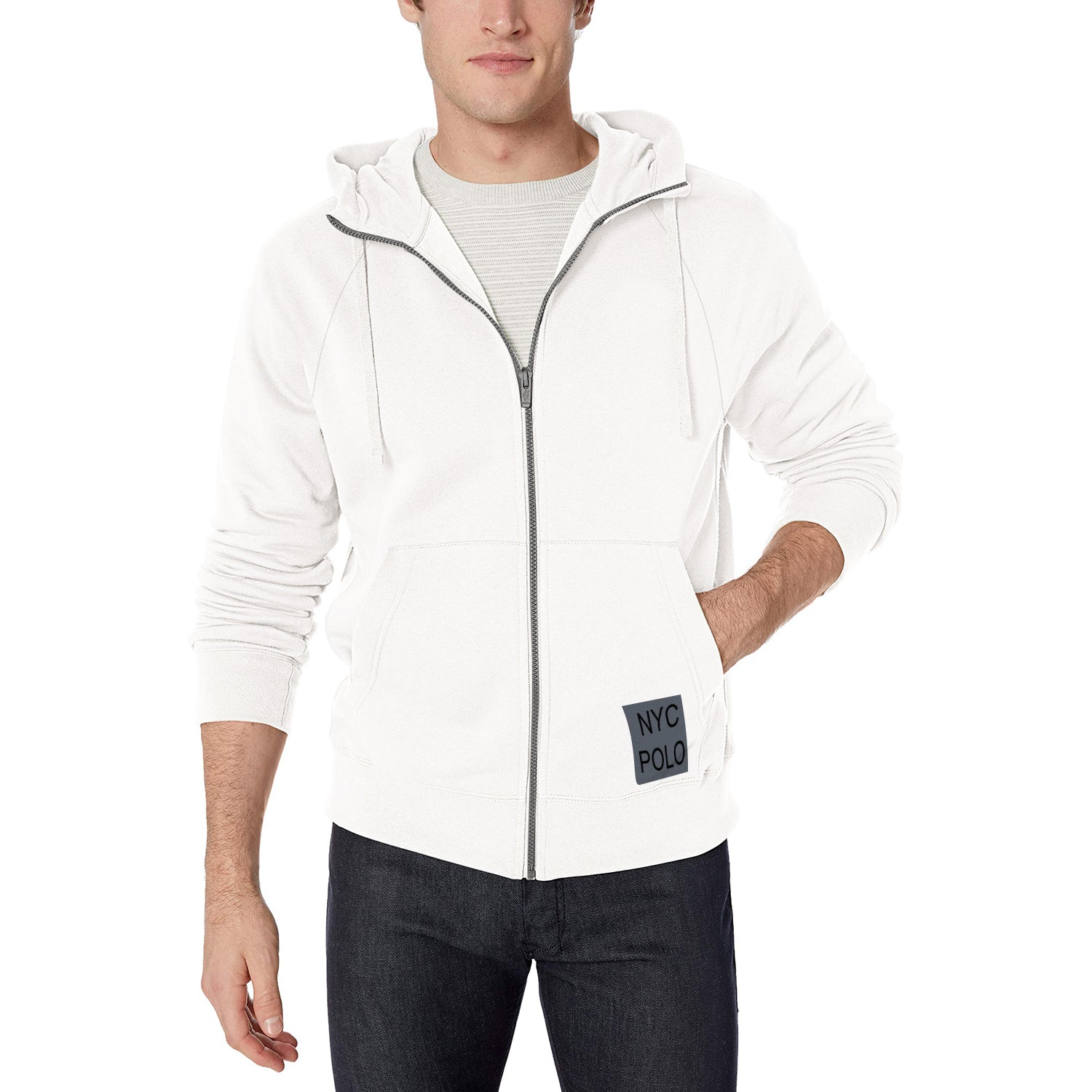 NYC Polo Fleece Full Zipper Hoodie For Men-White-BE10746