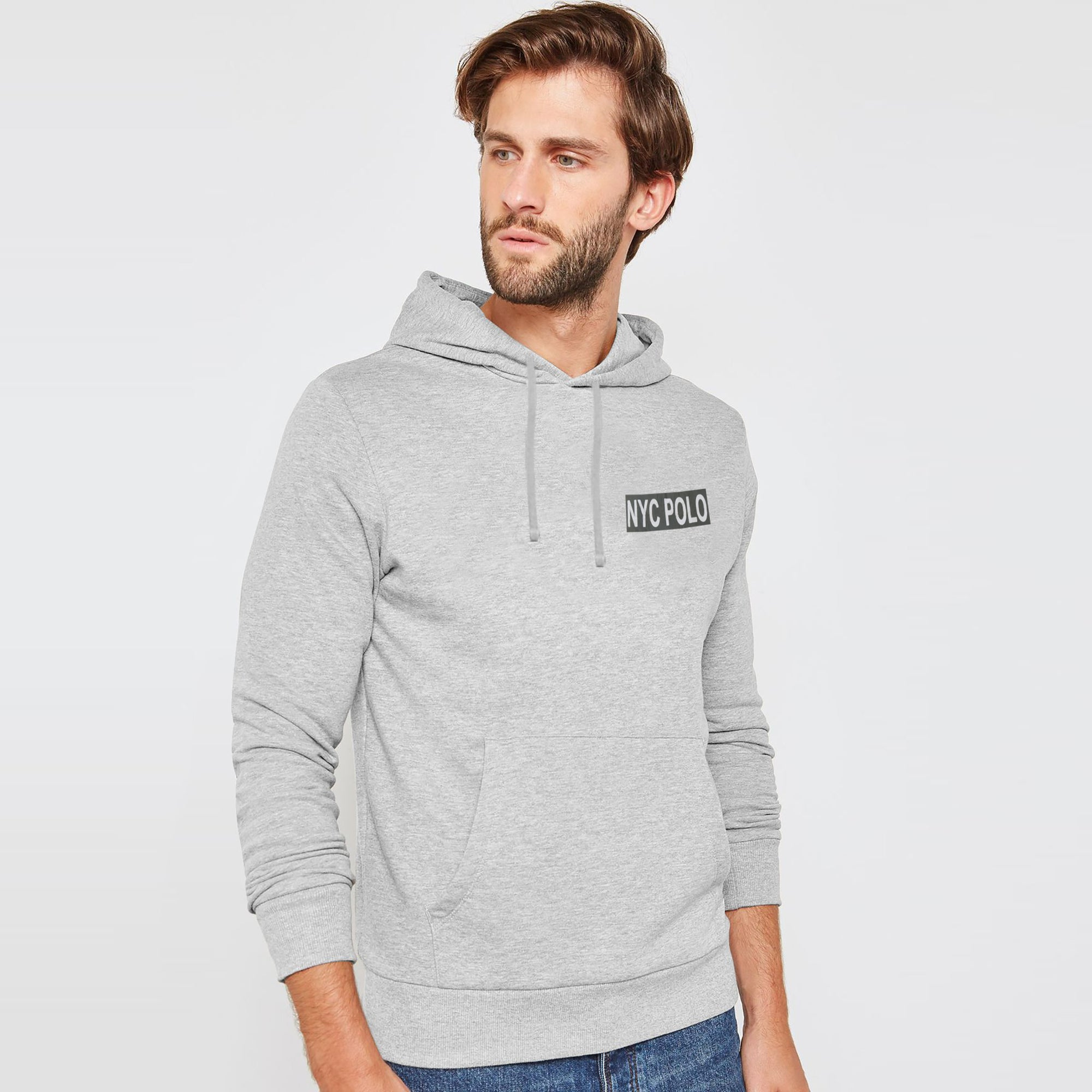 NYC Polo Fleece Pullover Hoodie For Men-Grey Melange-AN1343