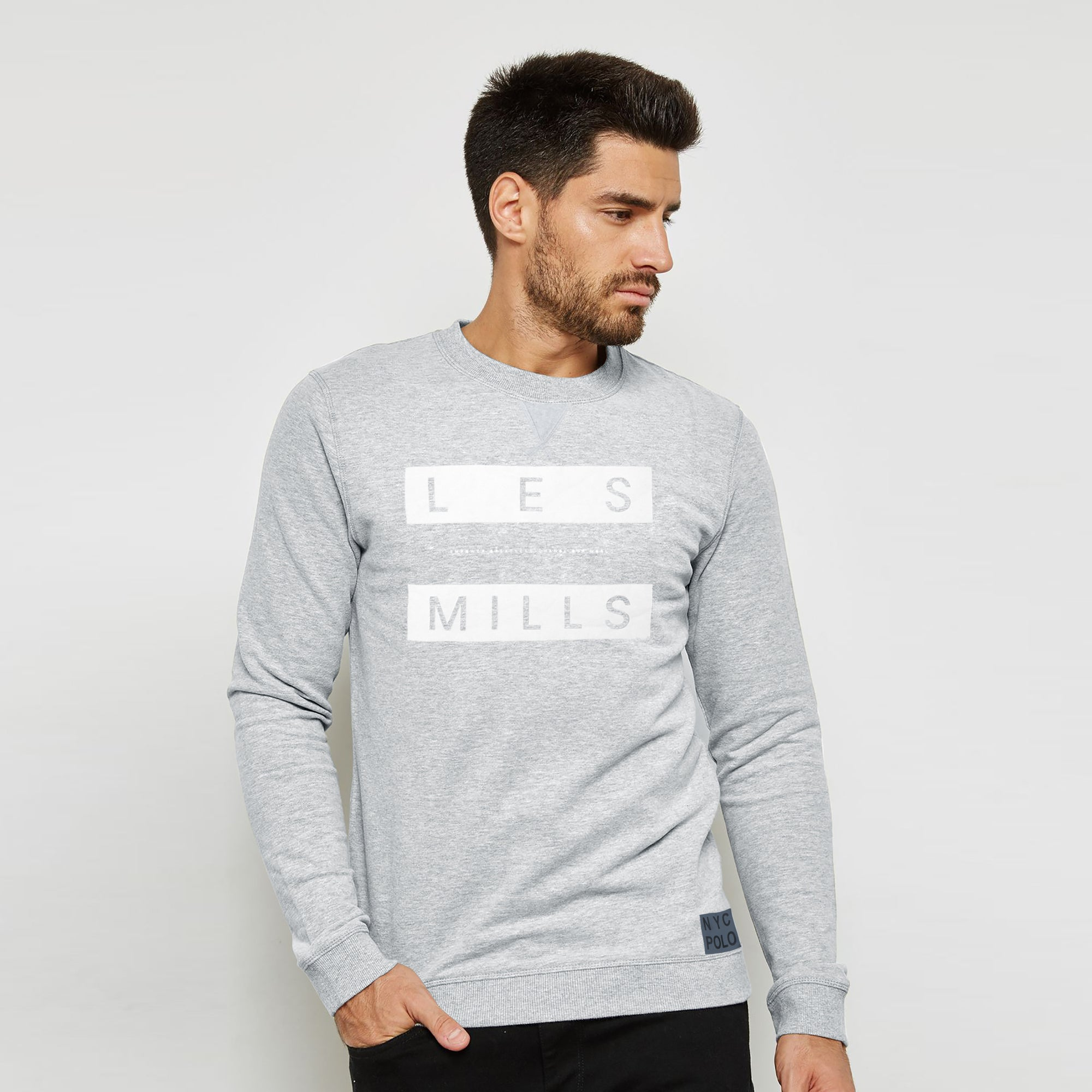 NYC Polo Fleece Sweatshirt For Men-Grey Melange-BE6323
