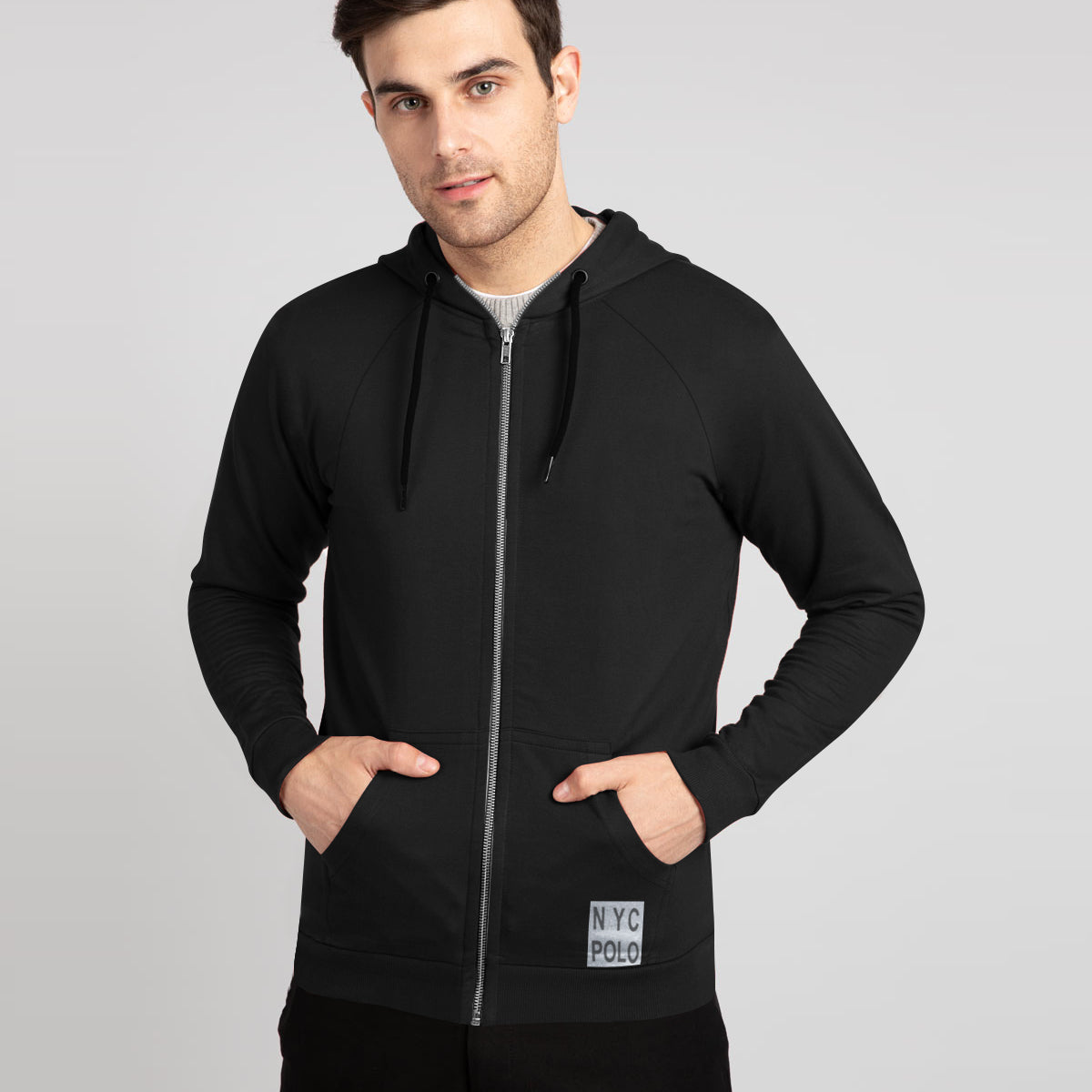 NYC Polo Fleece Zipper Hoodie For Men-Black-BE12914