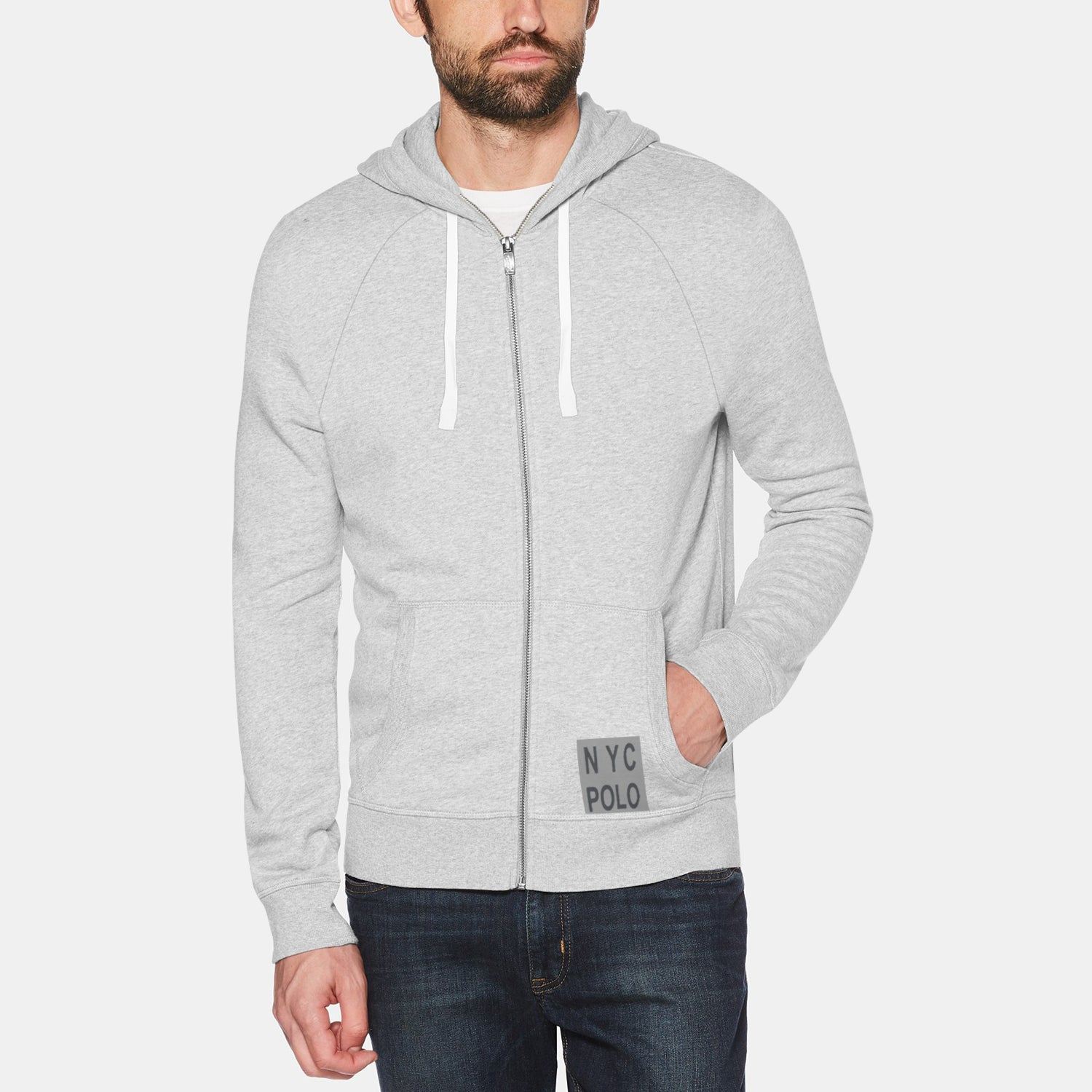NYC Polo Fleece Zipper Hoodie For Men-Grey Melange-BE12900