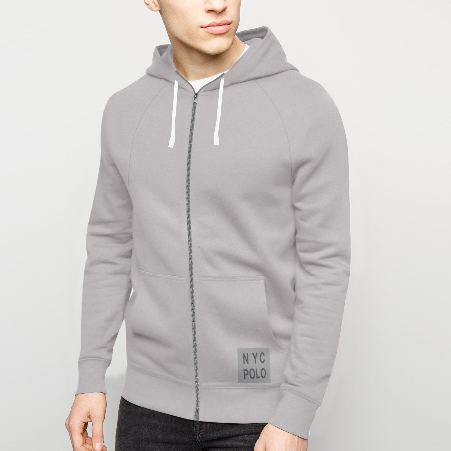 NYC Polo Fleece Zipper Hoodie For Men-Light Corn Flower-BE12906