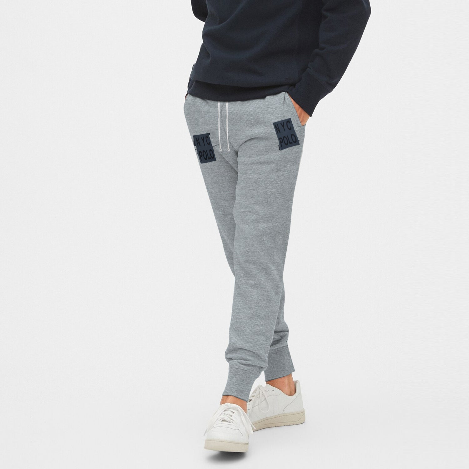 NYC Polo Terry Fleece Slim Fit Jogger Trouser For Men-Grey Melange-BE10449