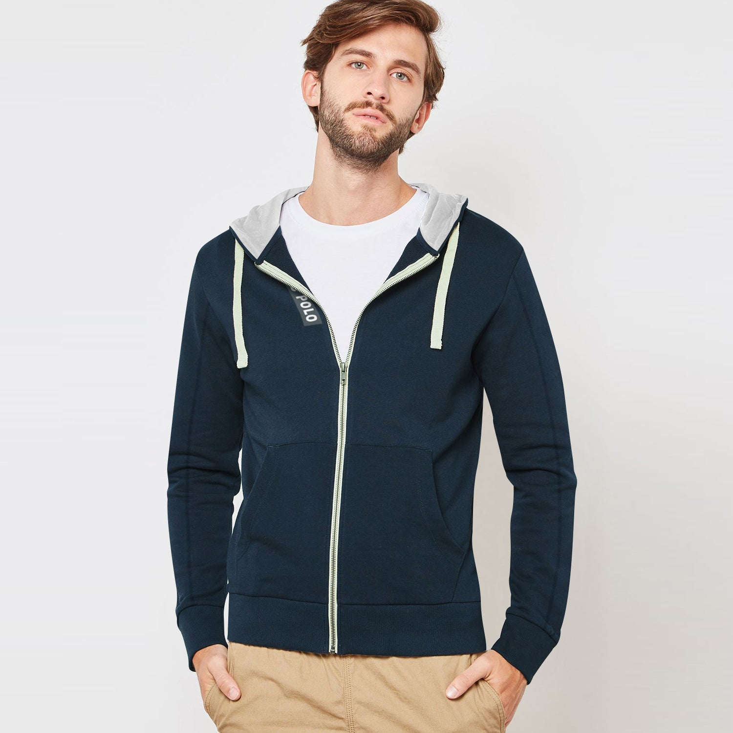 NYC Polo Terry Fleece Zipper Hoodie For Men-Dark Navy-BE12887