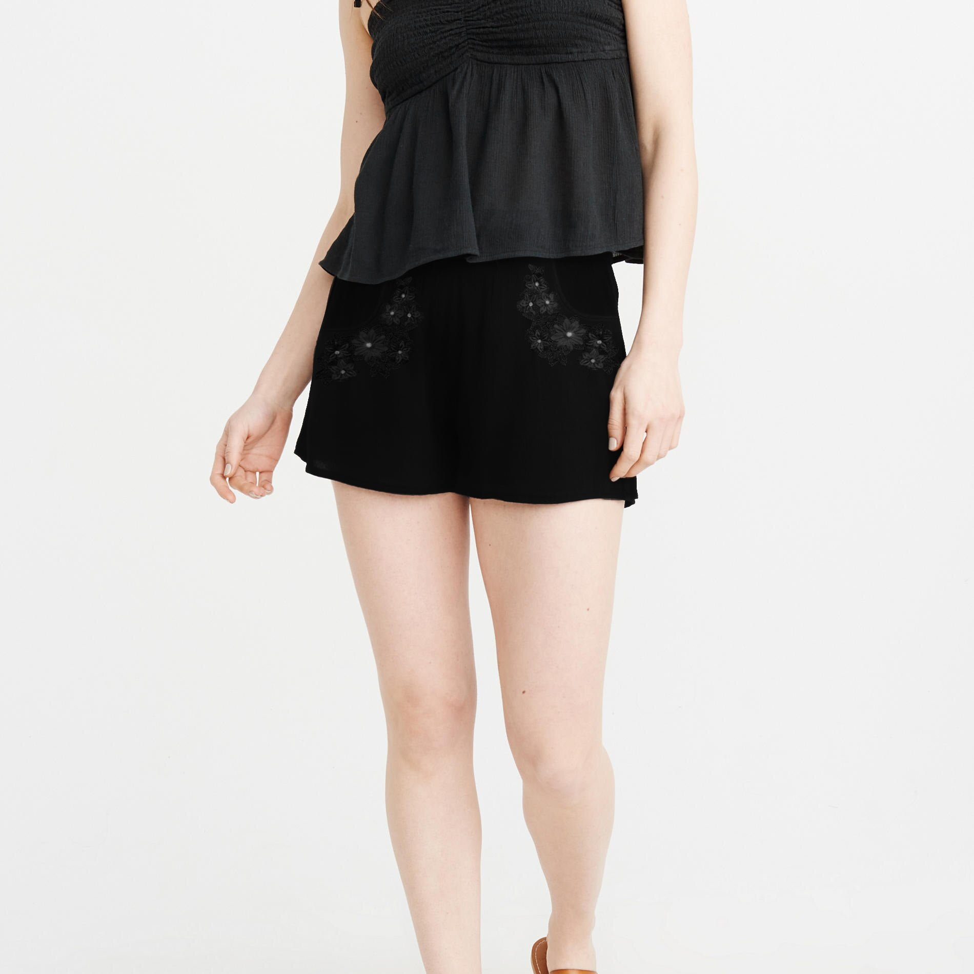 Ochanal Stylish Terry Viscose Short For Ladies-Black-BE8727