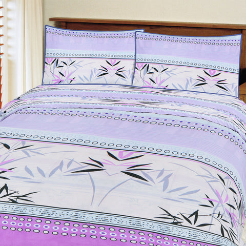 Oker's Island 100% Cotton Printed Double Bed Sheet & Pillow Set-BE5692